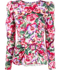 dolce & gabbana violet-print fitted blouse - blue