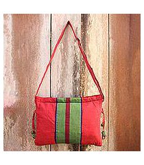 cotton sling bag, 'parangtritis red' (indonesia)