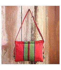cotton sling bag, 'parangtritis red' (indonesia)