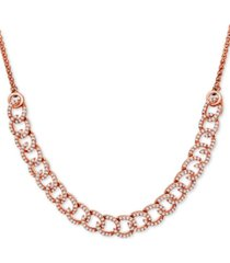 wrapped in love diamond curb-link bolo necklace (1 ct. t.w.) in 10k rose gold, created for macy's