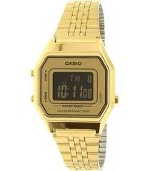 reloj casio dama elegante la680wga-9bd color dorado