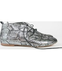 buty płaskie srebrny wąż