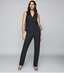 reiss marty - v neck jumpsuit in navy, womens, size 12