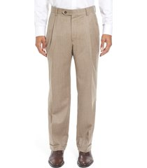 men's berle lightweight flannel pleated classic fit dress trousers, size 33 x unhemmed - brown