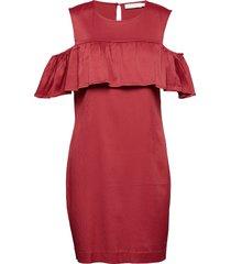 dress w. off-shoulder ruffle knälång klänning röd coster copenhagen