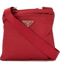 prada pre-owned triangle logo crossbody bag - red