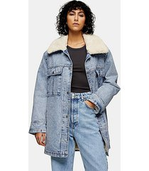 bleach acid wash borg lined longline denim coat - bleach stone