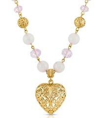 2028 semi-precious rose quartz filigree heart pendant necklace