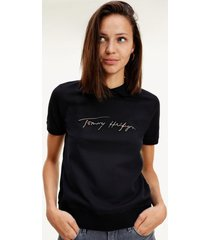 polo relaxed gold script negro tommy hilfiger