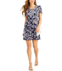 connected petite pleated floral-print tiered dress