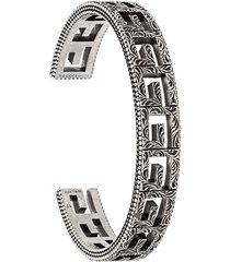 gucci square g cuff bracelet - silver