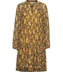 snake midi dress korte jurk geel second female