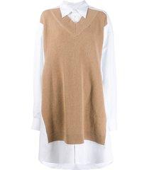maison margiela knitted panel shirt dress - brown