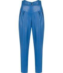framed tulip cropped pants - blue