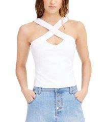 bar iii cross-front sleeveless top, created for macy's