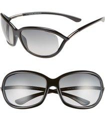 tom ford jennifer 61mm oval oversize frame sunglasses in black/grey at nordstrom