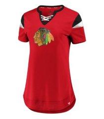 majestic chicago blackhawks women's athena lace up shirt