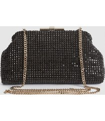 reiss adaline - embellished clutch in black, womens