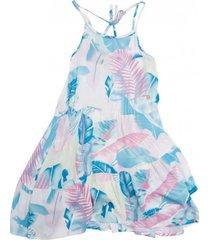 vestido tropical celeste  pillin