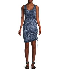 tiana b women's ruched tank dress - blue white - size l