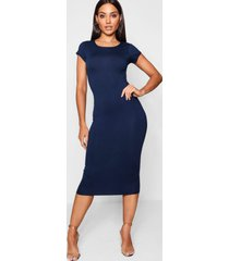 cap sleeve jersey bodycon midi dress, navy