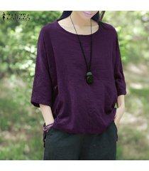 zanzea crew collar de tres cuartos de la manga blusas mujeres purple otoño ocio irregular rayas algodón largas con estilo top de la blusa púrpura -púrpura