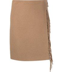 p.a.r.o.s.h. fringe-detail high-waisted skirt - brown