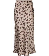 anine bing leopard print midi skirt - brown