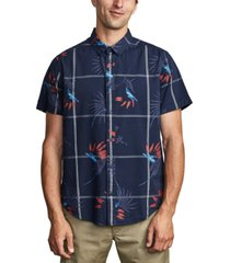 rvca men's fillmore floral windowpane-print shirt