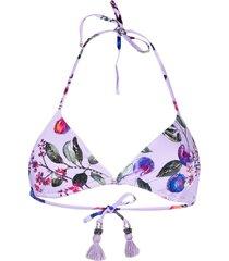 pq swim graphic-print bikini top - purple