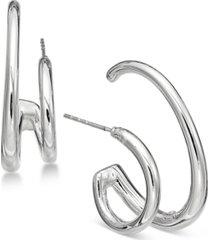 alfani silver-tone rounded tube hoop earrings, created for macy's