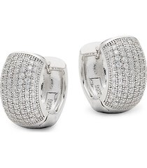 classic large sterling silver pavé huggie hoop earrings