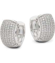 classic large sterling silver pavé huggie hoop earrings