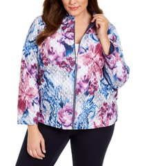 alfred dunner plus size autumn harvest printed quilted jacket