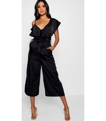 asymmetric neckline satin wrap culotte jumpsuit, black
