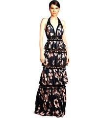 vestido longo izadora lima brand em musseline com babados feminino