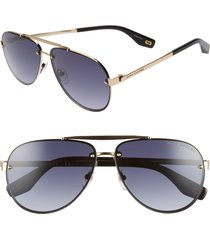 marc jacobs 61mm aviator sunglasses in antique gold/grey at nordstrom