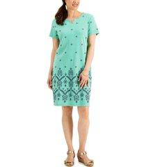 karen scott seersucker embroidered dress, created for macy's