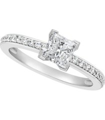 certified princess cut diamond engagement ring (1 ct. t.w.) in platinum