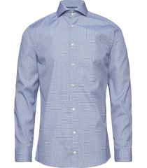 geometric print shirt overhemd business blauw eton