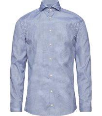 geometric print shirt overhemd business blauw eton