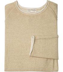 gebreide pullover met linnen en rolzoom, steen-gemêleerd xxl