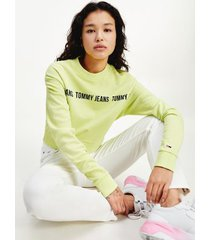 tommy hilfiger women's organic cotton cropped logo tape sweatshirt faded lime - xl