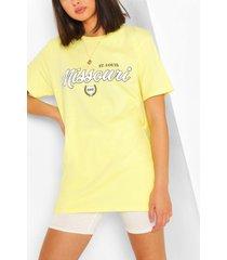 missouri collegiate print t-shirt, yellow