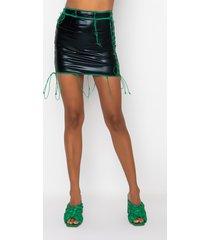 akira hyde park thin pu lace up mini skirt