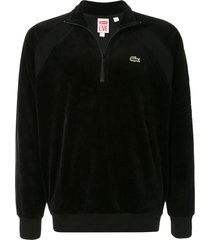 supreme x lacoste velour sweatshirt - black