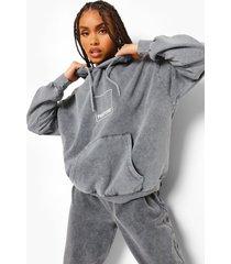 acid wash gebleekte pantone hoodie met voor- en achteropdruk, grijs