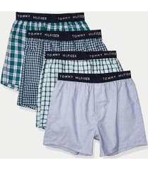 tommy hilfiger men's cotton classics boxer 4pk light blues/green - m