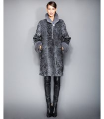 the fur vault mink-fur-trimmed persian lamb coat