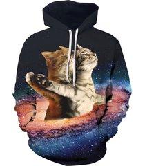 starry sky cats print kangaroo pocket hoodie